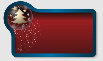 dark red text box with a Christmas motif and falling snow
