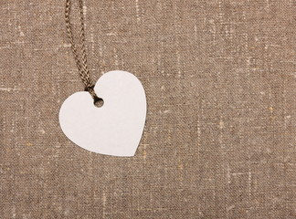 heart shape label tag on sackcloth