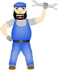 Maintenance Man with wrench cartoon vector