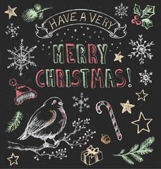 Vintage Christmas Chalkboard Hand Drawn Vector Set