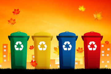 illustration of bins for recycle