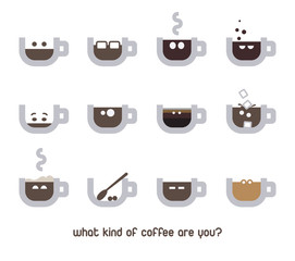 Vector coffee emotions or emoticons