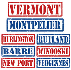 Vermont Cities stamps