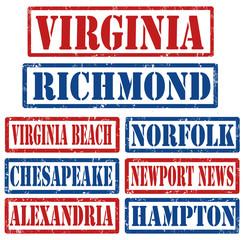 Virginia Cities stamps