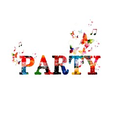 Colorful party background with butterflies