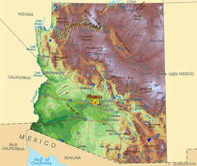 Arizona Hi Res USA counties map background