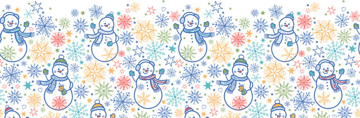 Vector cute snowmen horizontal seamless pattern background with