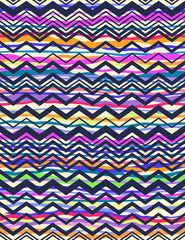 navy zigzag over colorful stripes
