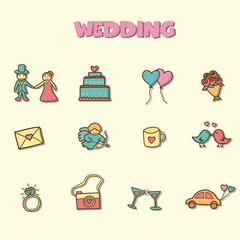 wedding doodle icons