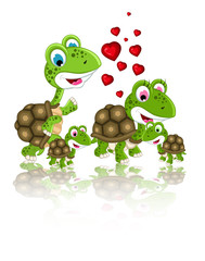 happy family of turtle cartoon