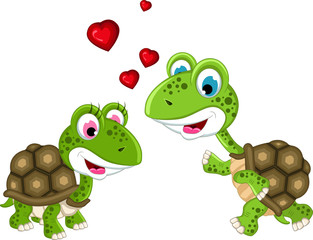 cute couple turtle cartoon