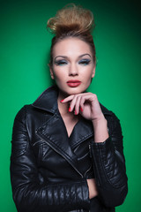 woman with nice hairstyle and makeup looking at the camera