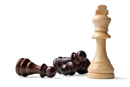 King chess piece with opposition pawns