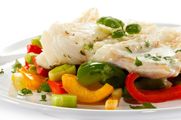 Fish dish - boiled fish fillet and vegetables