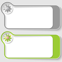set of two vector text boxes with flowers
