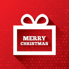 Merry Christmas greeting card on red background.
