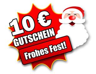 """Siegel """"10 Euro Gutschein - Frohes Fest!"""""""