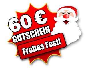 """Siegel """"60 Euro Gutschein - Frohes Fest!"""""""