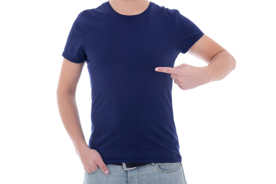 close up of man in blank blue t-shirt pointing at himself