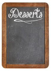 desserts menu on blackboard