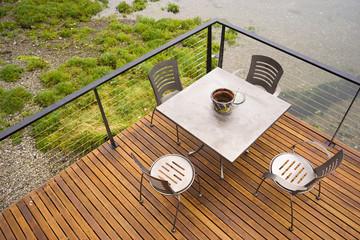 Wood Plank Deck Patio Beach Water Stanless Steel Dining Set