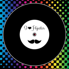 Card with vinyl record on rainbow background hipster style