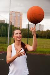 Sexy Woman Throw Basketball