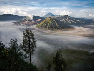 Aluminium Prints Indonesia Gunung Bromo, Mount Batok and Gunung Semeru in Java, Indonesia