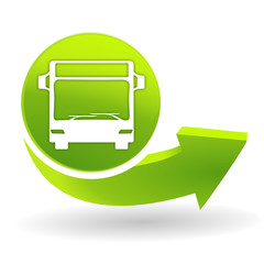 Fototapete - bus transport vert sur symbole vert