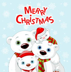 Christmas bear family greeting card