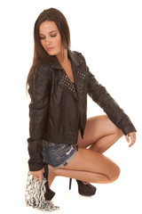 Woman black jacket over lace chain down