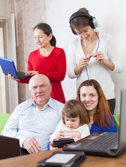 family uses few various electronic devices