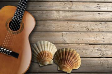 Acoustic Guitar on Wooden Boardwalk