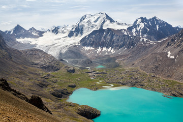 Fototapete - Ala-Kul lake in Tien Shan mountains