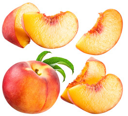 Peach and Slice isolated on white background