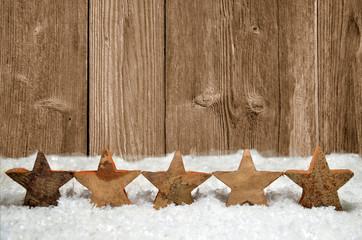 Weihnachten Dekoration altes Holz Schnee