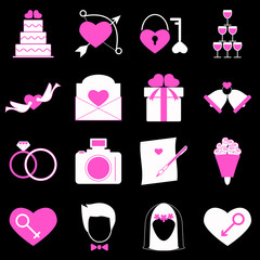 Wedding icons on black background