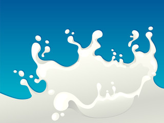 Milk splash isolated on blue background.