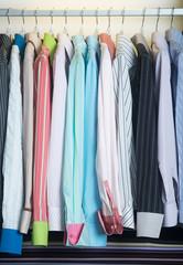 shirts. man shirts on hangers