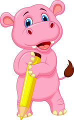 Cute hippo cartoon holding yellow pencil