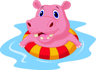 Hippo floating on an inflatable circle in the pool