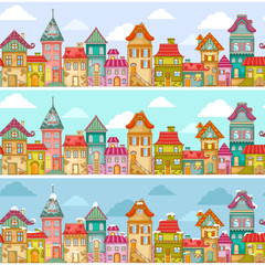 seamless pattern with rows of colorful houses