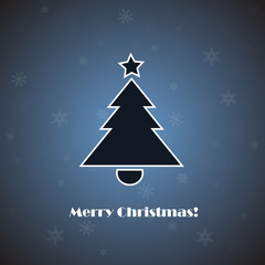 Vector christmas tree on blue background with snowflakes