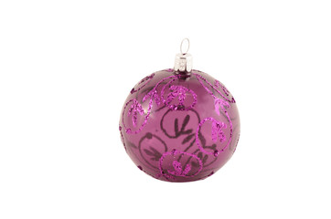 Glass violet christmas bauble isolated
