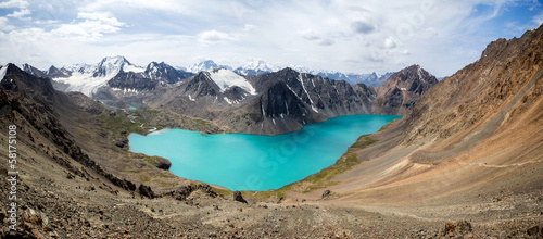 Fototapete Wonderful panorama of Ala-Kul lake in Kyrgyzstan