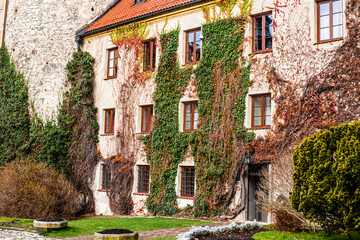 Green wall of old Palace in Pieskowa Skala,Poland, near Cracow