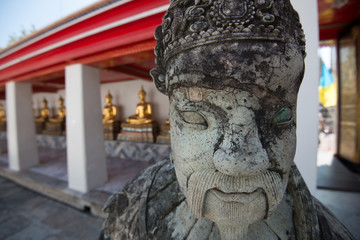 The chinese warrior statue in Wat Po Bangkok. The most famous te