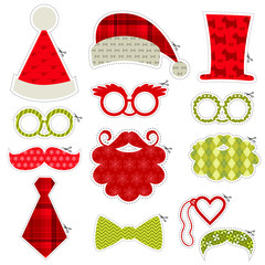 Christmas Photobooth Party set - Glasses, hats, lips, mustaches
