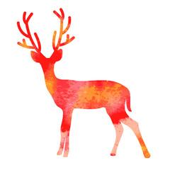 Vector watercolor deer with horns