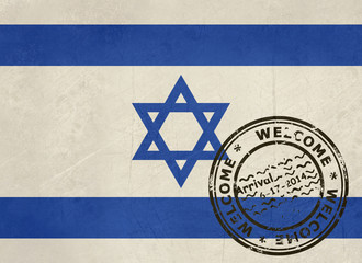 Welcome to Israel flag with passport stamp